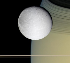 Dione & Saturn - I wish I could get such a view in my scope, but this is from Cassini.